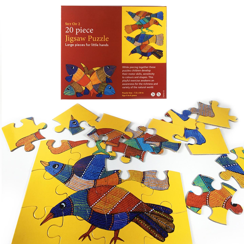 FroggMag - Jigsaw Puzzles - 20 pcs - Gond Art - Bird and Fish