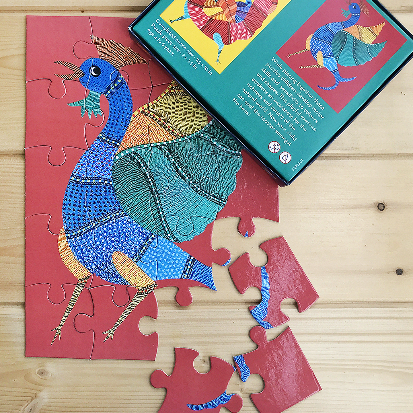 FroggMag - Jigsaw Puzzles - 20 pcs - Gond Art - Rooster and Hens