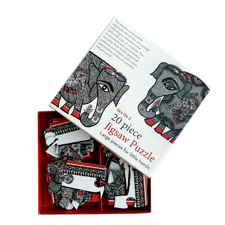FroggMag - Jigsaw Puzzles - 20 pcs - Madhubani Art - Elephants